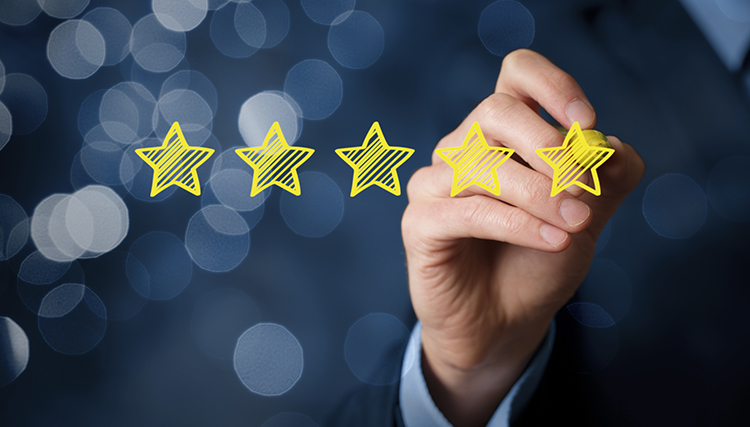 man-giving-company-five-star-rating